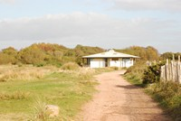 [Looking towards the visitor centre at Dawlish Warren]