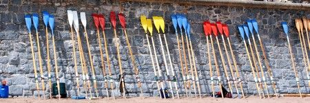 [Oars waiting to be used]