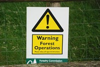 [Sign warning of Forest operations in the wood]